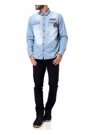 Camisa-Manga-Longa-Jeans-Masculina-Azul-claro