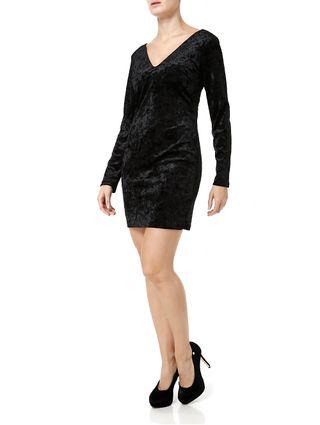 Vestido-Veludo-Curto-Feminino-Autentique-Preto