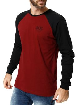 Camiseta-Manga-Longa-Masculina-Bordo-preto