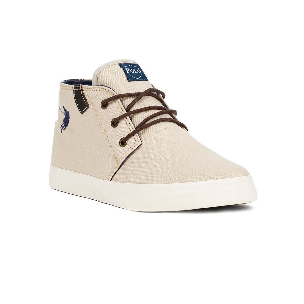 Tênis Casual Cano Alto Masculino Polo Shoes Long Canvas Bege - Lojas ... f6750f61f7f2f