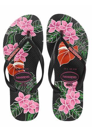 Chinelo-Feminino-Havaianas-Slim-Floral-Preto