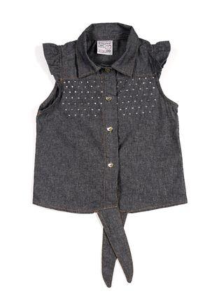 Camisa-Regata-Jeans-Infantil-Para-Menina---Cinza