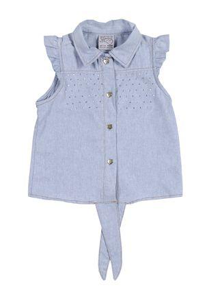 Camisa-Regata-Jeans-Infantil-Para-Menina---Azul-claro