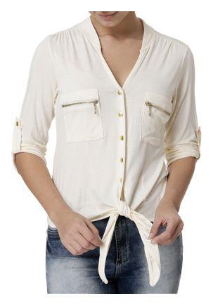 Camisa-Manga-3-4-Feminina-Bege