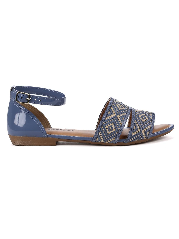 57eab42f1b Sandália Rasteira Feminina Dakota Azul/bege - Lojas Pompeia