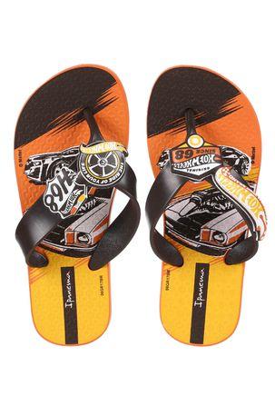 Chinelo-Infantil-Para-Menino-Hot-Wheels-Tyre-Marrom-laranja