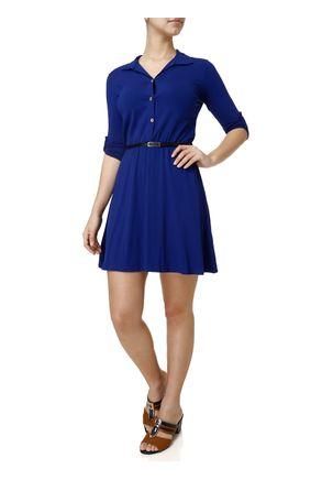 Vestido-Curto-Feminino-Manga-3-4-com-Cinto-Azul