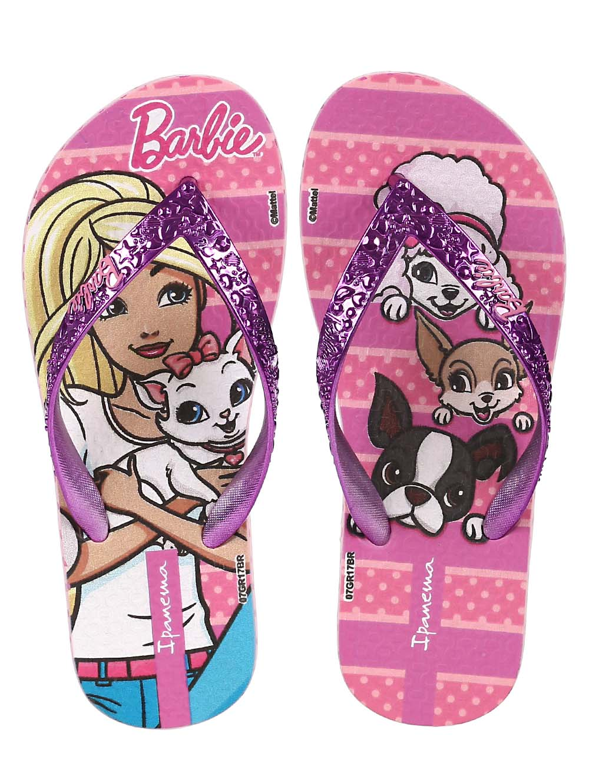 0f14826d20df57 Chinelo Infantil Barbie Para Menina - Rosa/lilás