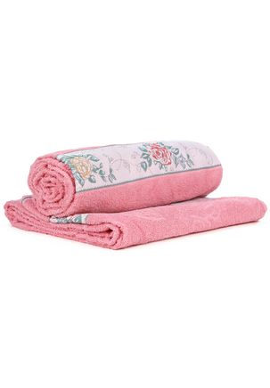 Toalha-Banho-Dohler-Premium-Floral-Rosa