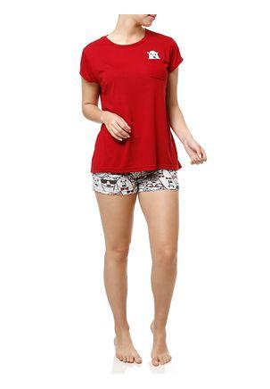 Pijama-Curto-Feminino-Vermelho-