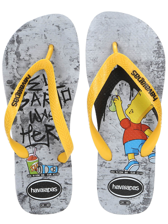 d8cc98f90 Chinelo Masculino Havaianas Simpsons Cinza/amarelo - Lojas Pompeia