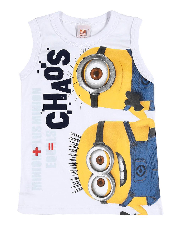 1d76fa80c52e6 Camiseta Regata Minions Infantil Para Menino - Branco - Lojas Pompeia