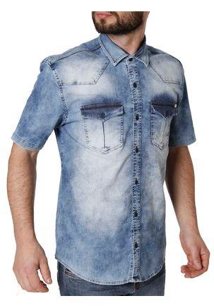 Camisa-Manga-Curta-Masculina-Bivik-Azul