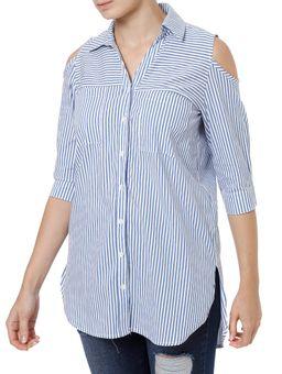 Camisa-Manga-3-4-Feminina-Autentique-Azul