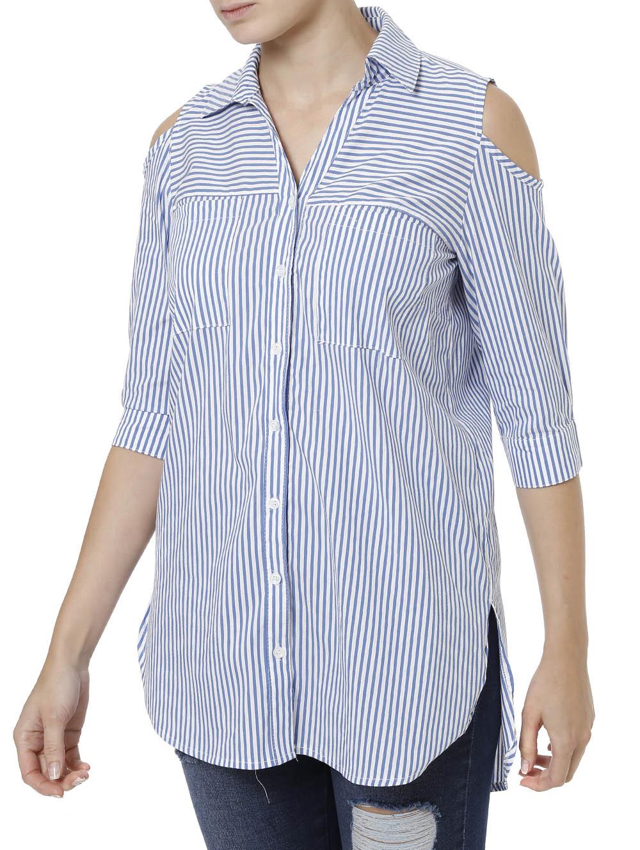 d10f9b5f40 Camisa Manga 3 4 Feminina Autentique Azul - Lojas Pompeia