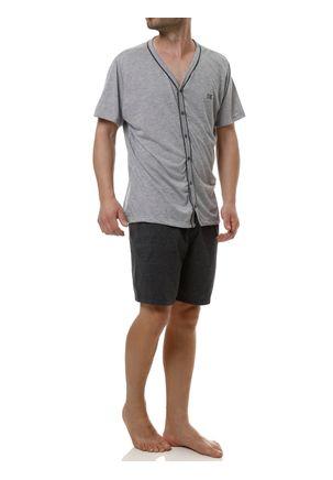 Pijama-Curto-Masculino-Cinza