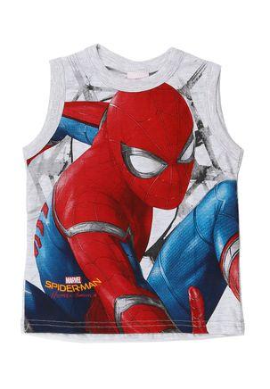 Camiseta-Regata-Spider-Man-Infantil-para-Menino---Cinza