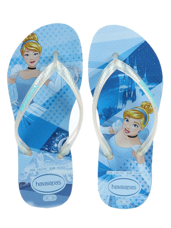 87d685d3d Chinelo Havaianas Kids Slim Princess Infantil Para Menina - Azul ...
