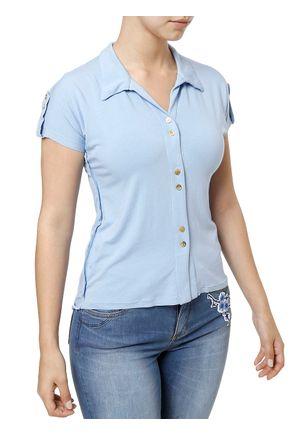 Camisa-Manga-Curta-Feminina-Azul