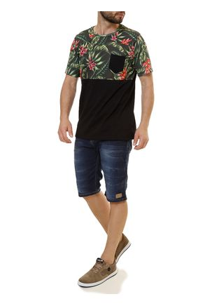 Camiseta-Manga-Curta-Masculina-No-Stress-Preto-verde