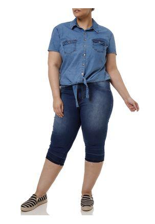 Camisa-Manga-Curta-Plus-Size-Feminina-Azul