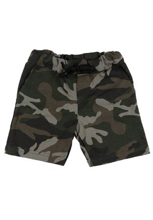 Bermuda-de-Tecido-Camuflado-Infantil-Para-Menino---Verde