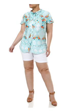 Camisa-Manga-Curta-Plus-Size-Feminina-Verde