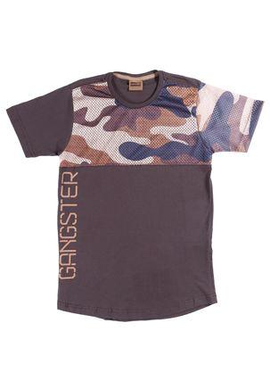 Camiseta-Manga-Curta-Gangster-Juvenil-para-Menino---Marrom