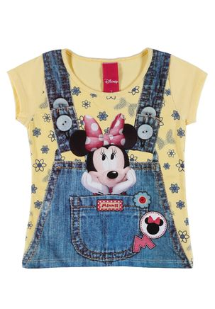Camiseta-Manga-Curta-Disney-Infantil-para-Menina---Amarelo