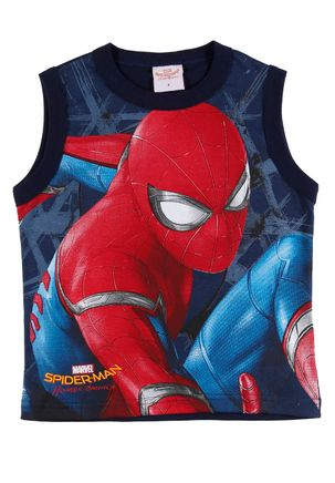 Camiseta-Regata-Spider-Man-Infantil-para-Menino---Azul-marinho