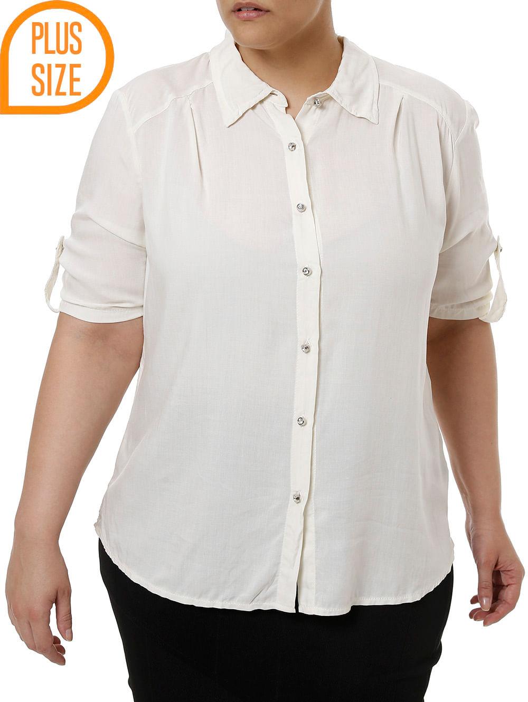 d6dcd9464 Camisa Manga Curta Plus Size Feminina Bege - Lojas Pompeia