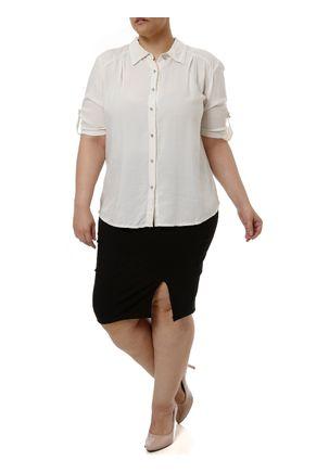 Camisa-Manga-Curta-Plus-Size-Feminina-Bege