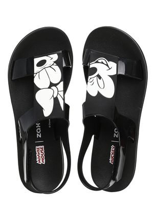 Chinelo-Slide-Feminino-Zaxy-Playful-Mickey-e-Minnie-Preto