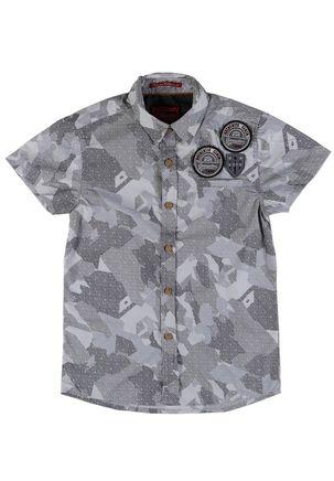 Camisa-Manga-Curta-Camuflada-Juvenil-Para-Menino---Cinza