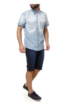 Camisa-Jeans-Manga-Curta-Masculina-Azul-claro-