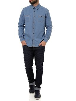 Camisa-Manga-Longa-Jeans-Masculina-Eletron-Azul-Claro