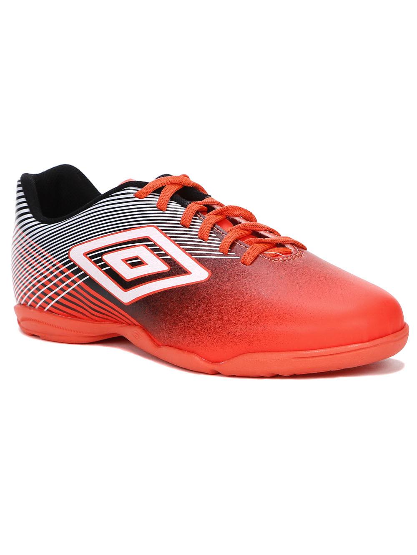 b6200604c Tênis Futsal Masculino Umbro Slice Indoor III Coral preto branco ...