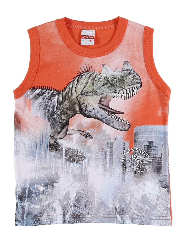 b664d9ab52eb1 Camiseta Regata Infantil Para Menino - Laranja - Lojas Pompeia