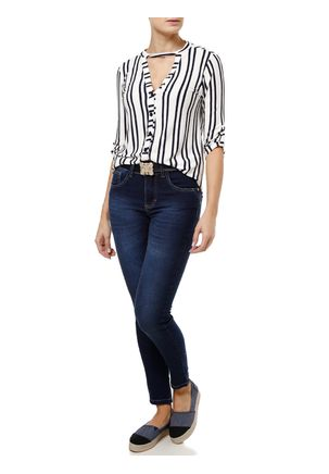 Camisa-Manga-3-4-Feminina-Autentique-Branco-azul-Marinho