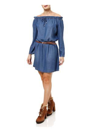 Vestido-Jeans-Manga-3-4-Feminino-Azul