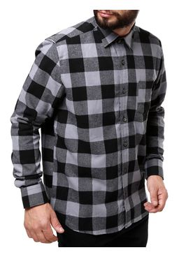 Camisa-Manga-Longa-Masculina-Cinza-preto