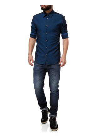Camisa-3-4-Masculina-Azul