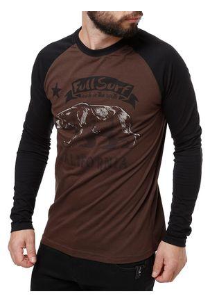 Camiseta-Manga-Longa-Masculina-Full-Surf-Marrom