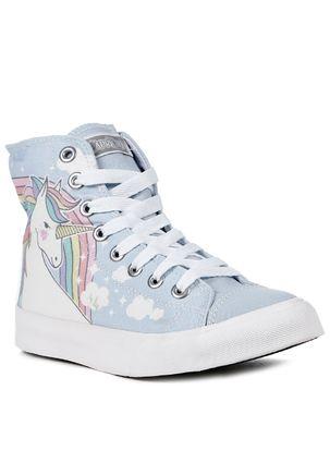 Tenis-Cano-Alto-Feminino-Capricho-Unicornio-Azul-branco