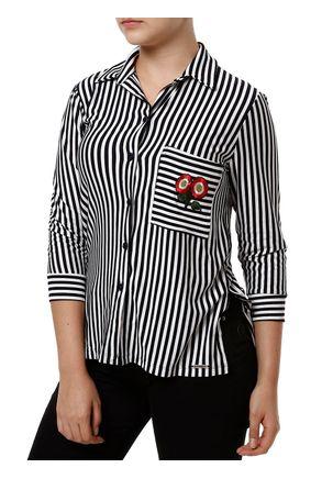 Camisa-Manga-3-4-Feminina-Autentique-Azul-Marinho-branco