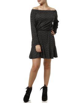 Vestido-Curto-Manga-3-4-Feminino-Cinza