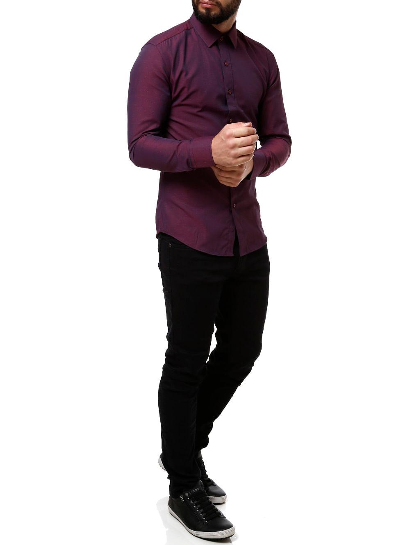 8b2895bd58 Camisa Manga Longa Masculina Vinho - Lojas Pompeia