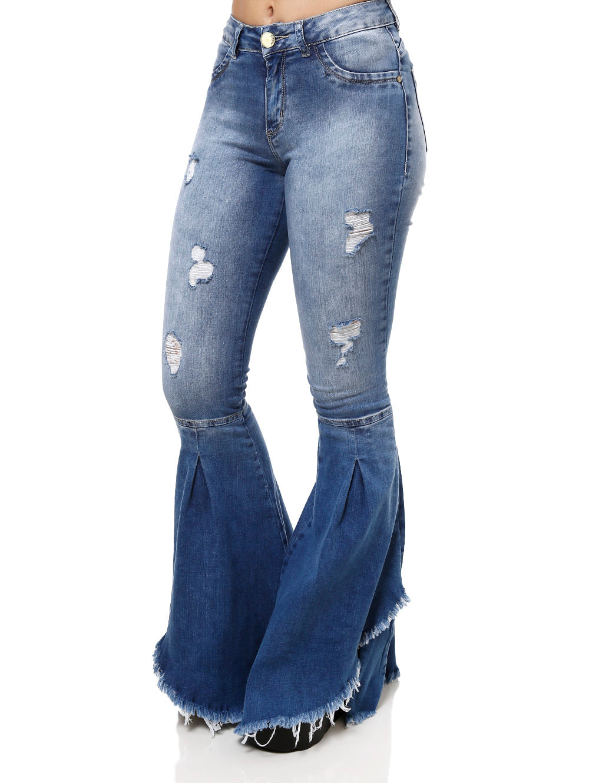 c29d146e4 Calça Jeans Flare Feminina Mokkai Azul - Lojas Pompeia