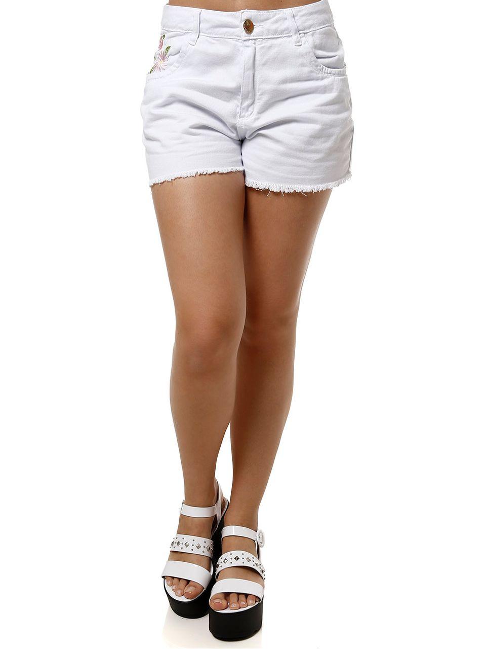 Short Jeans Feminino Mokkai Branco