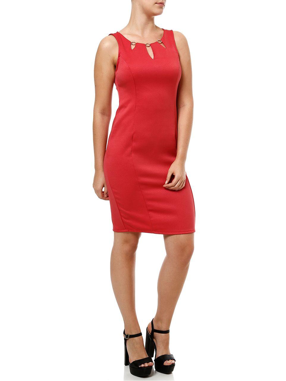Vestido Curto Feminino Coral